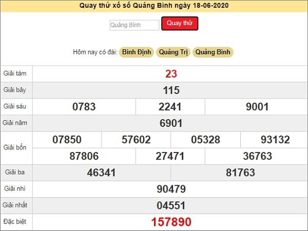 Quay thử xổ số Quảng Bình ngày 18 tháng 6 năm 2020